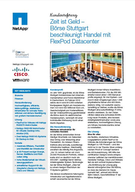 Zeit ist Geld — Börse Stuttgart beschleunigt Handel mit FlexPod Datacenter