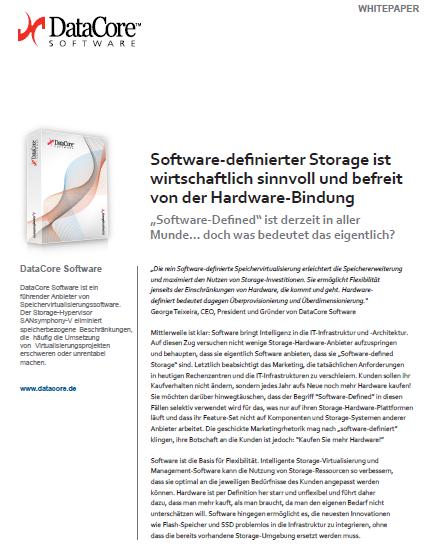 Software Defined Storage: wirtschaftlich sinnvoll und befreit von der Hardware-Bindung