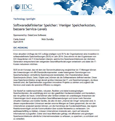 IDC Technology Spotlight: Softwaredefinierter Speicher – Weniger Speicherkosten, bessere Service-Levels