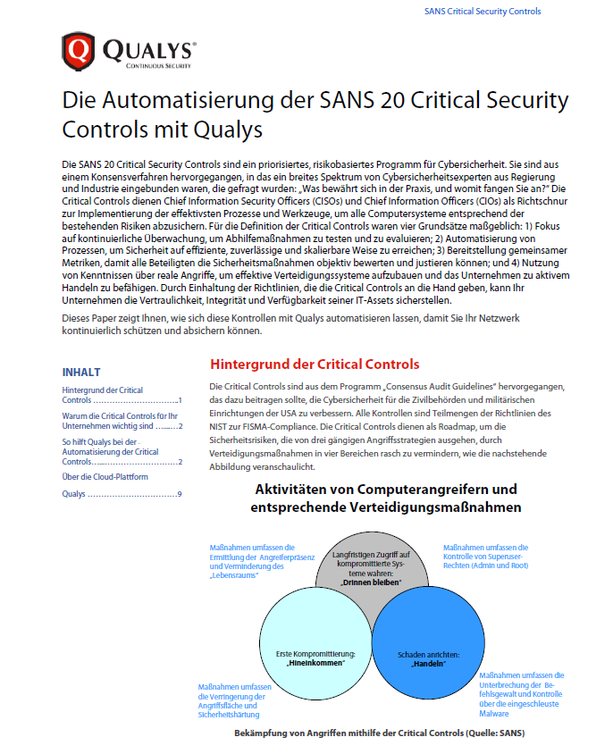 Die Automatisierung der SANS 20 Critical Security Controls