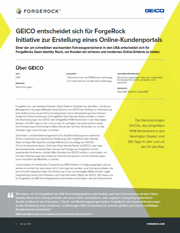 GEICO entscheidet sich für ForgeRock Initiative zur Erstellung eines Online-Kundenportals