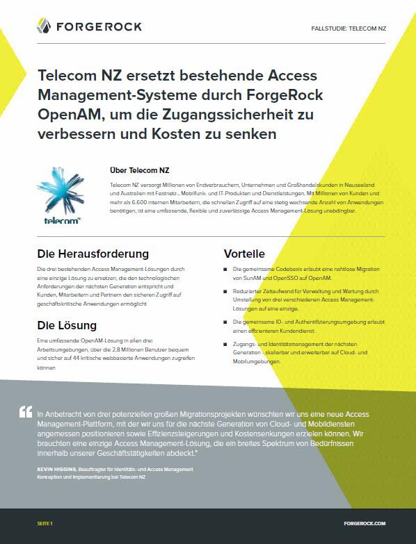 Telecom NZ ersetzt bestehende Access Management-Systeme durch ForgeRock OpenAM, um die Zugangssicherheit zu verbessern und Kosten zu senken