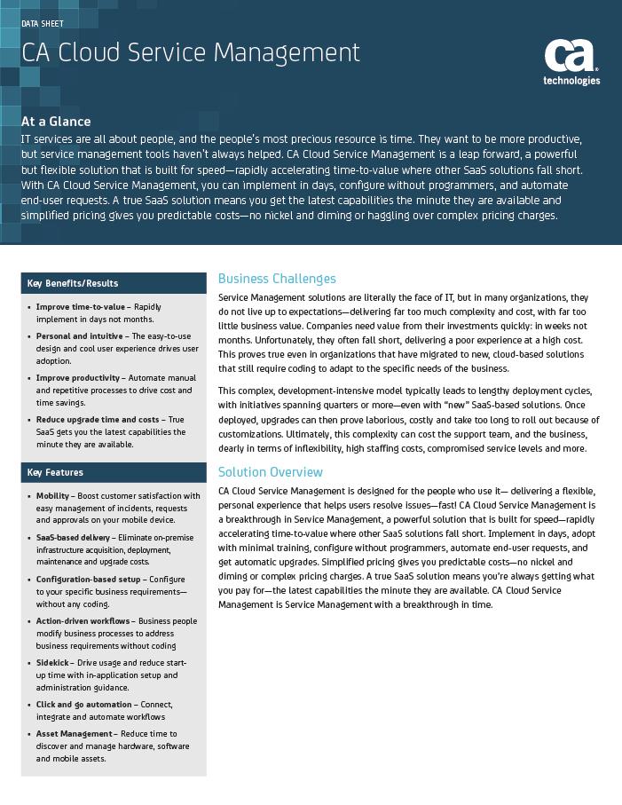 CA Cloud Service Management