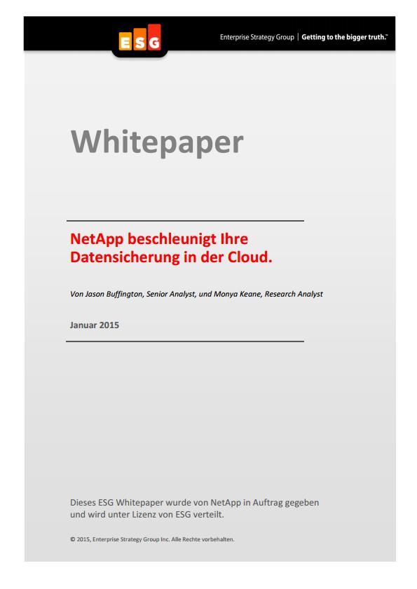 NetApp beschleunigt Ihre Datensicherung in der Cloud