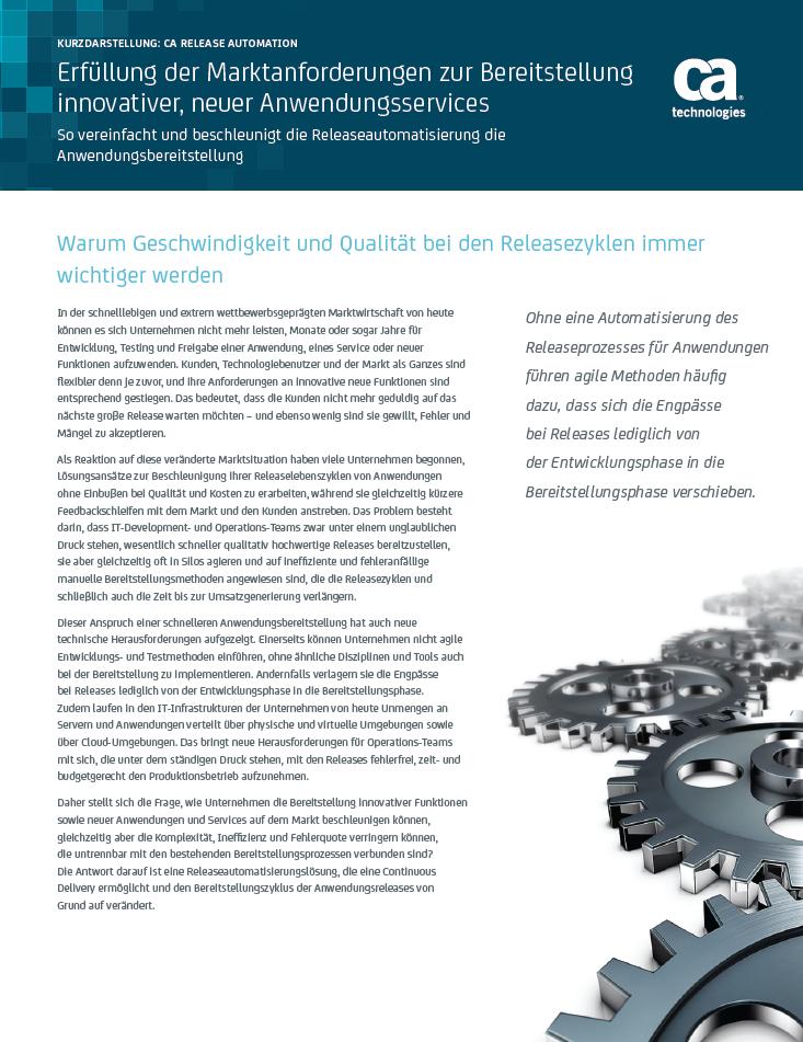 Erfüllung der Marktanforderungen zur Bereitstellung innovativer, neuer Anwendungsservices
