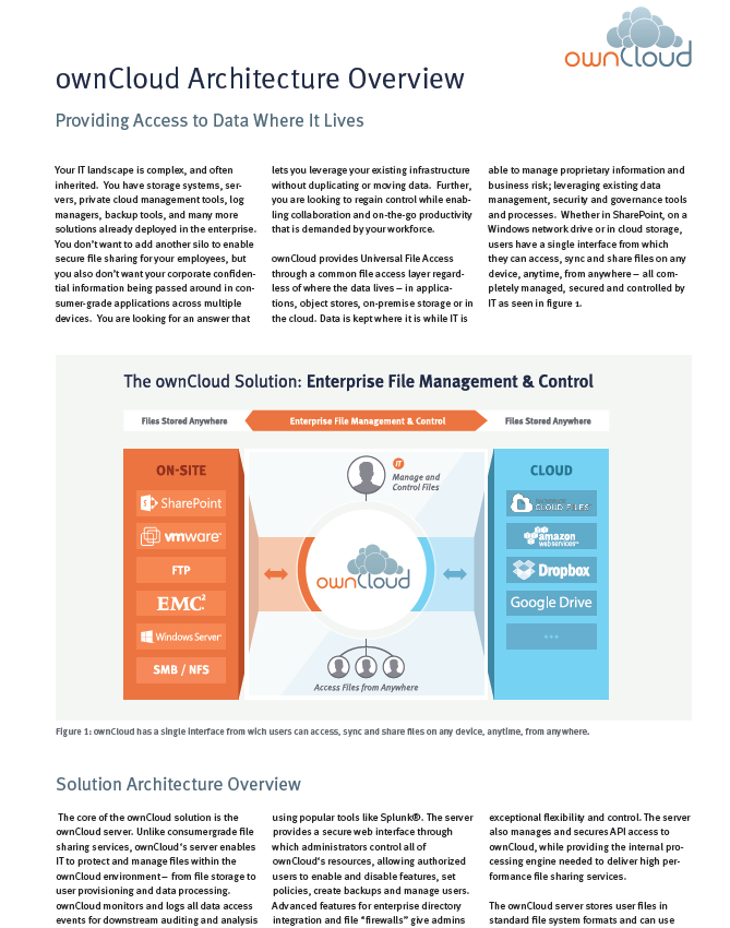 ownCloud Architecture Overview &#8211; <br>Providing access to data where it lives