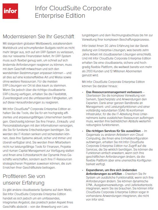 Infor CloudSuite Corporate Enterprise Edition