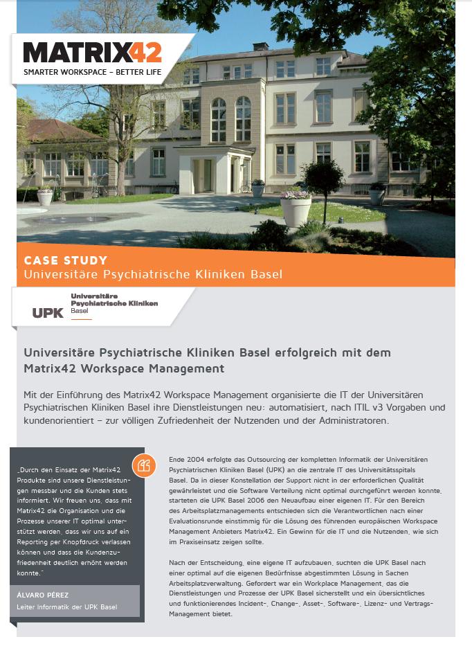 Universitäre Psychiatrische Kliniken Basel erfolgreich mit dem Matrix42 Workspace Management