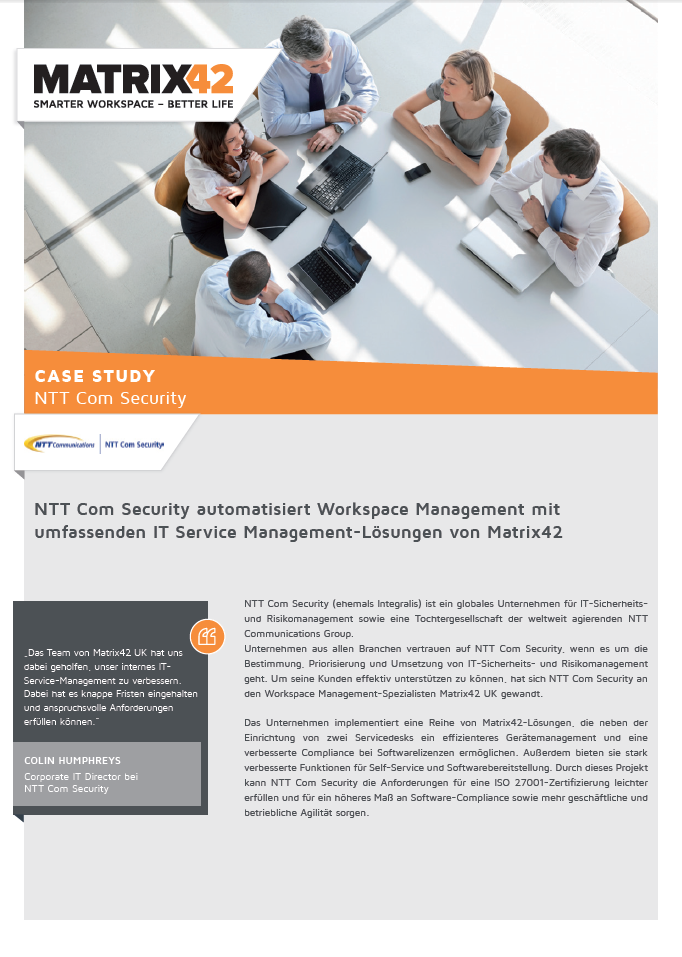 NTT Com Security automatisiert Workspace Management mit umfassenden IT Service Management-Lösungen von Matrix42