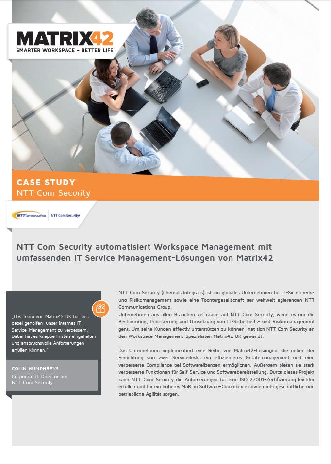 NTT Com Security automatisiert Workspace Management mit umfassenden IT Service Management-Lösungen von Matrix42