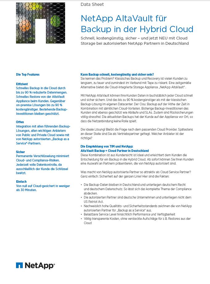 NetApp AltaVault für Backup in der Hybrid Cloud