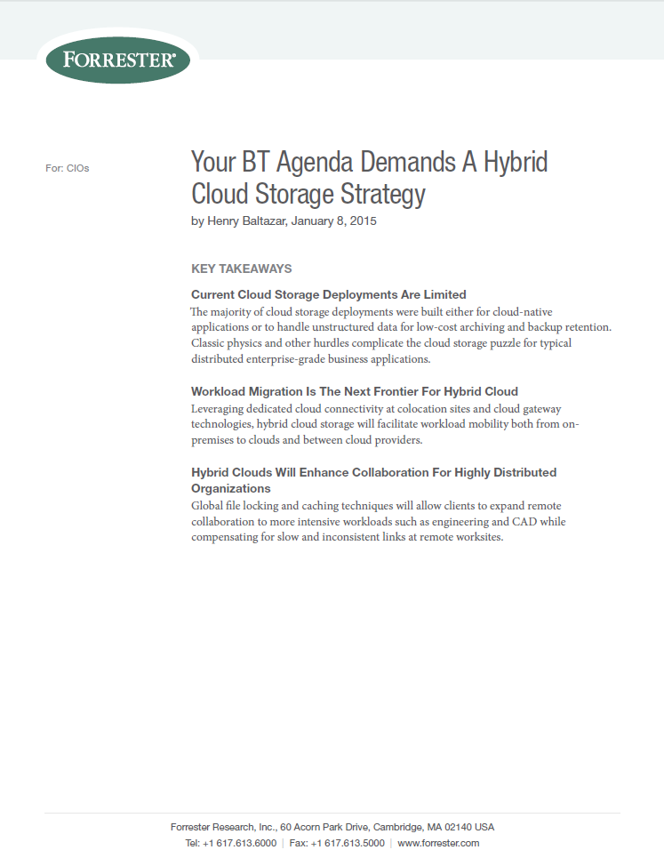 Forrester Report: Your BT Agenda Demands A Hybrid Cloud Storage Strategy