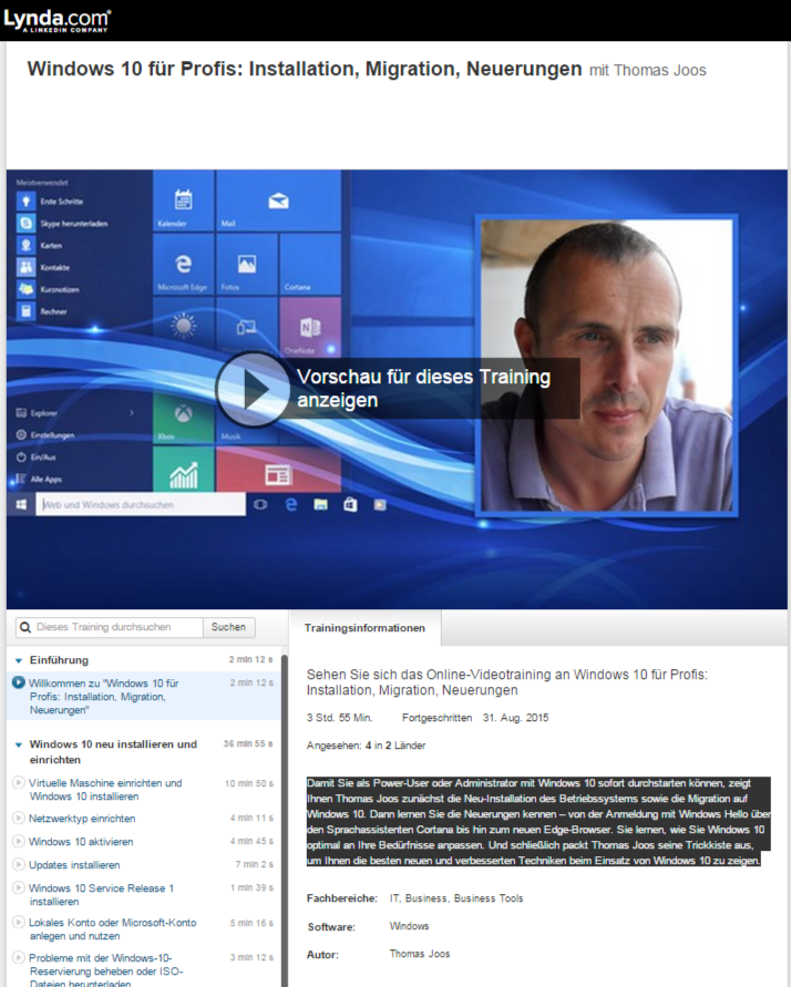 Video-Tutorial: Windows 10 für Profis: Installation, Migration, Neuerungen