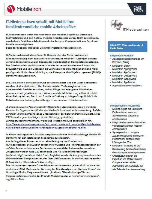 IT.Niedersachsen schafft mit MobileIron familienfreundliche mobile Arbeitsplätze