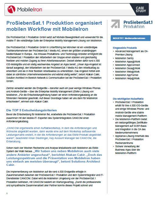 ProSiebenSat.1 Produktion organisiert mobilen Workflow mit MobileIron