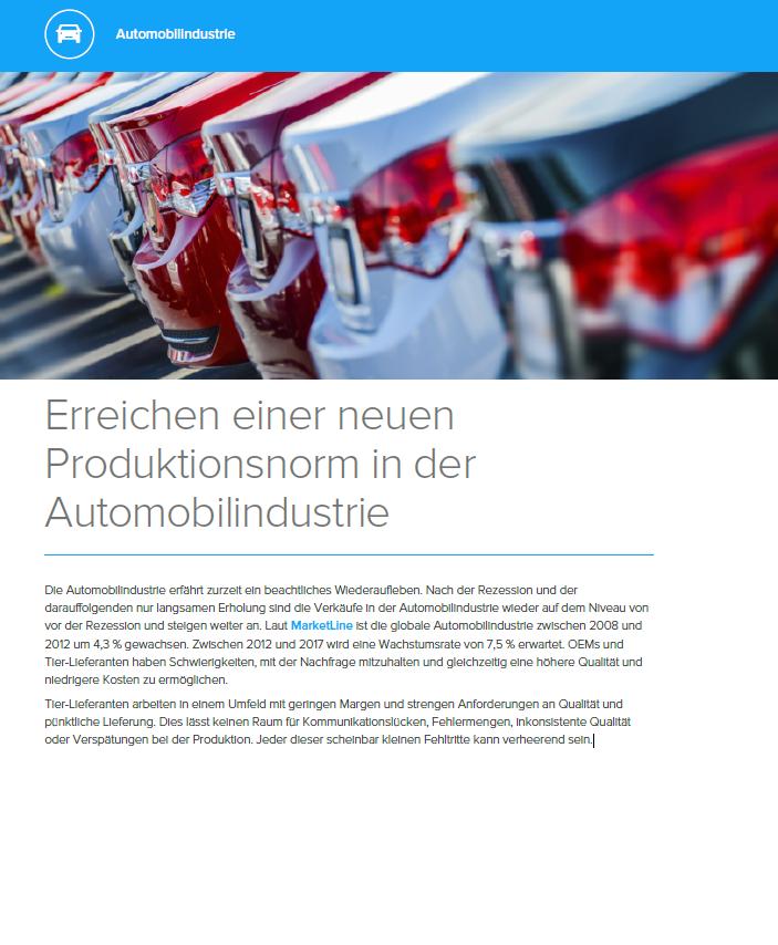 Erreichen einer neuen Produktionsnorm in der Automobilindustrie