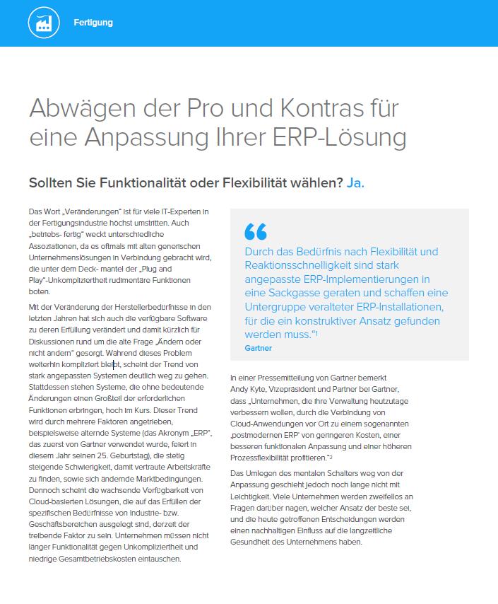 Abwägen der Pro und Kontras für eine Anpassung Ihrer ERP-Lösung
