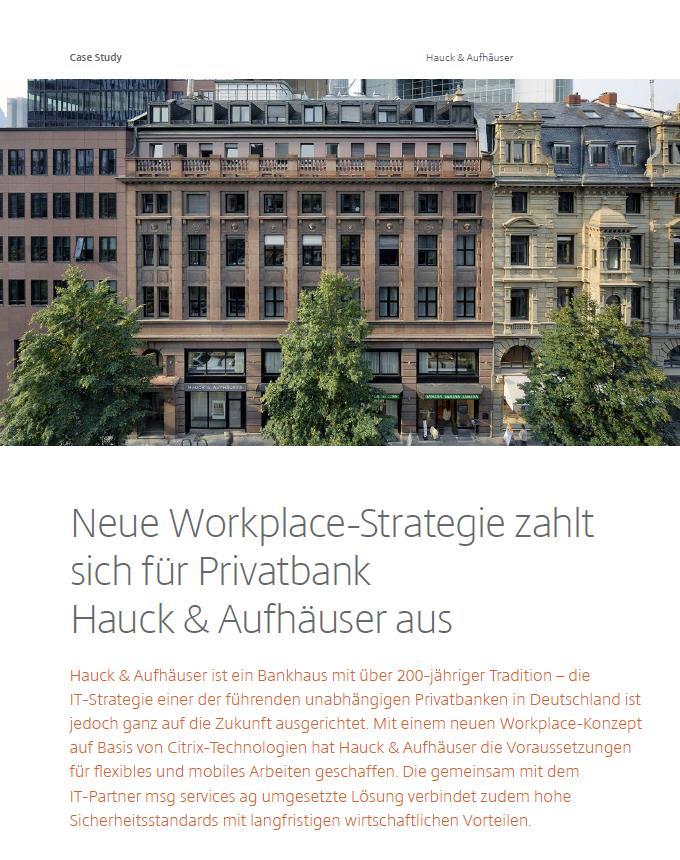 Case Study: Neue Workplace-Strategie zahlt sich für Privatbank Hauck & Aufhäuser aus