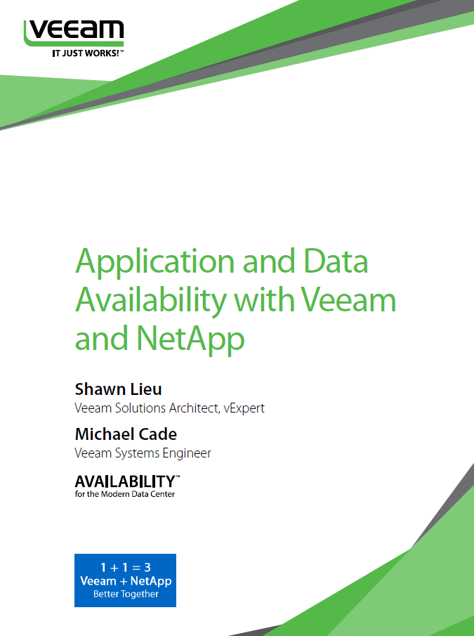 Three Scenarios: Application and Data Availability with Veeam and NetApp