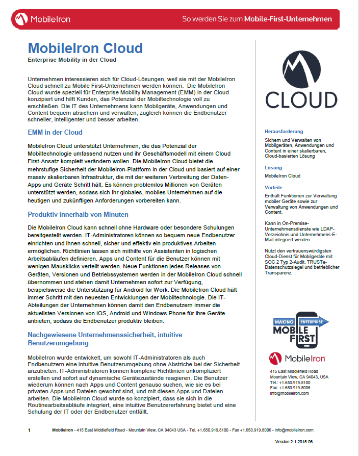 MobileIron Cloud – Enterprise Mobility in der Cloud