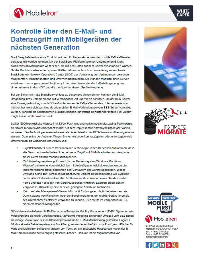Kontrolle über den E-Mail- und Datenzugriff mit Mobilgeräten der nächsten Generation