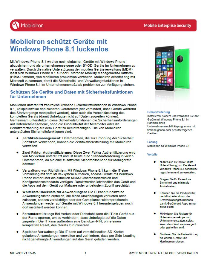 MobileIron schützt Geräte mit Windows Phone 8.1 lückenlos