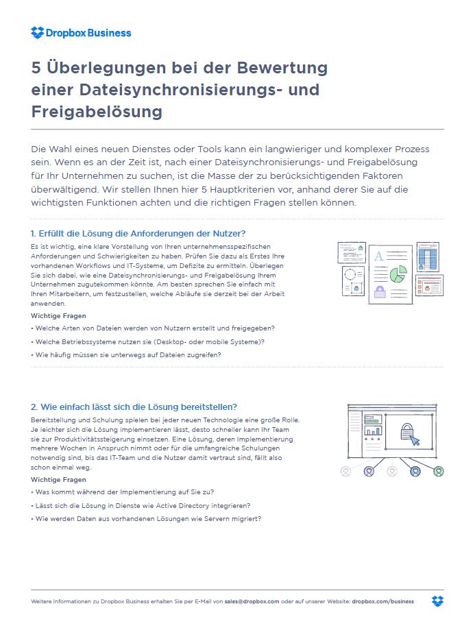 5 Überlegungen bei der Bewertung einer Dateisynchronisierungs- und Freigabelösung
