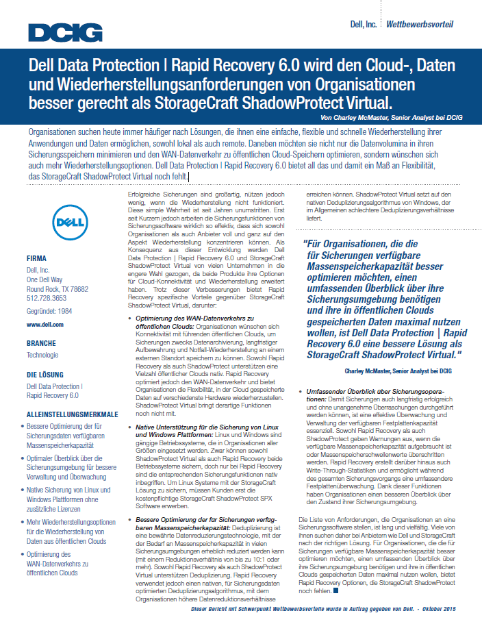 Dell Data Protection | Rapid Recovery 6.0 bietet eine bessere Lösung als StorageCraft ShadowProtect Virtual an