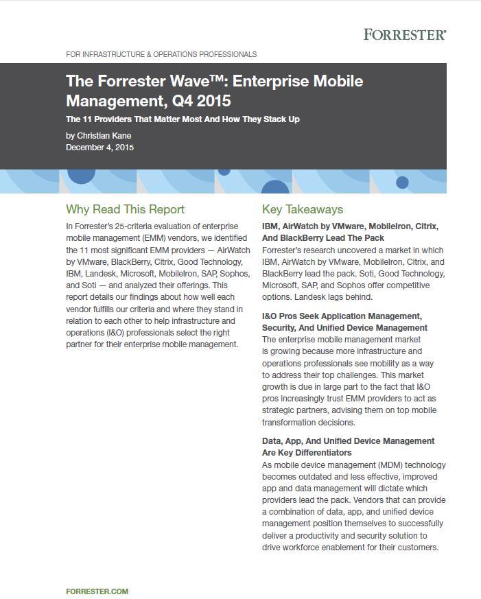 The Forrester Wave™: Enterprise Mobile Management, Q4 2015
