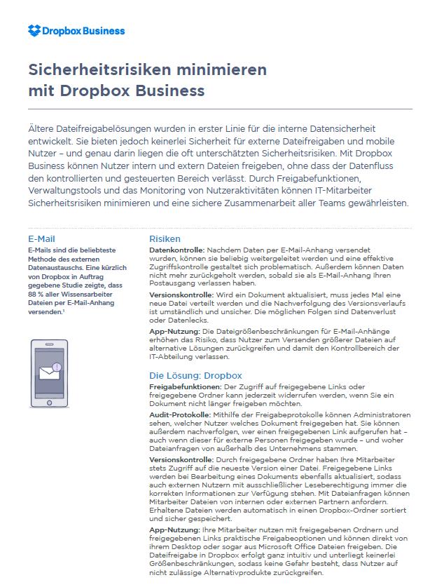 Sicherheitsrisiken minimieren mit Dropbox Business
