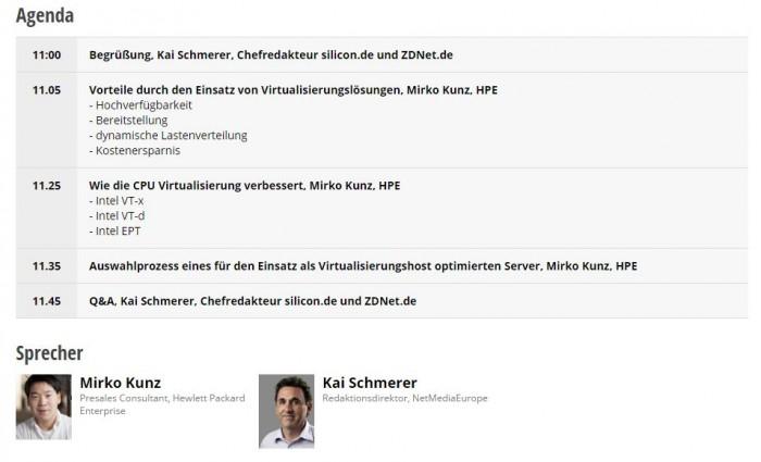 Webinar-Agenda Virtualisierung (Bild: ZDNet.de)