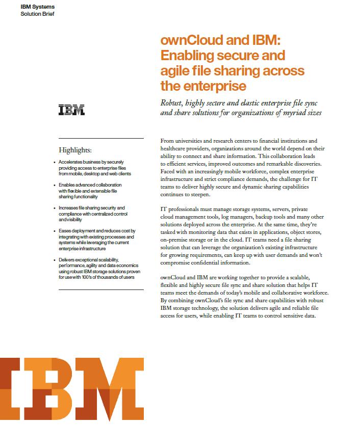 ownCloud und IBM machen unternehmensweiten Dateiaustausch sicher und flexibel