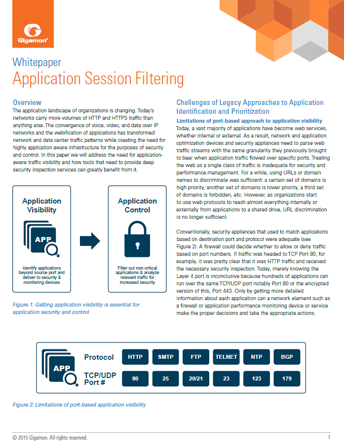 Application Session Filtering