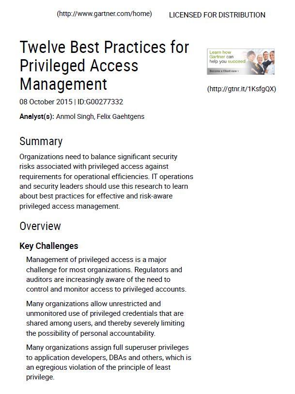 Gartner Research: Best Practices für Privileged Access Management
