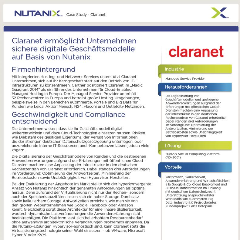 Nutanix Virtual Computing Platform als Basis für neue Angebote beim Managed Service Provider Claranet