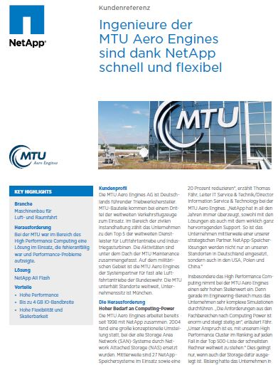 Einsatz von NetApp All-Flash-Storage bei MTU Aero Engines AG
