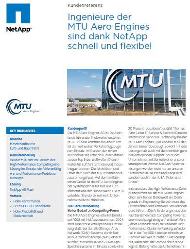 Einsatz von NetApp All-Flash-Storage bei MTU Aero Engines AG