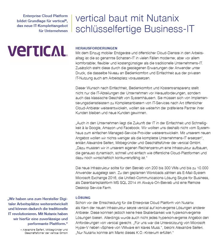 vertical baut mit Nutanix schlüsselfertige Business-IT