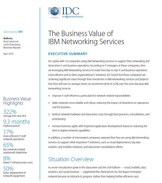 The Business Value of  IBM Networking Services
