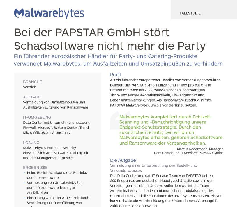 Bei der PAPSTAR GmbH stört Schadsoftware nicht mehr die Party