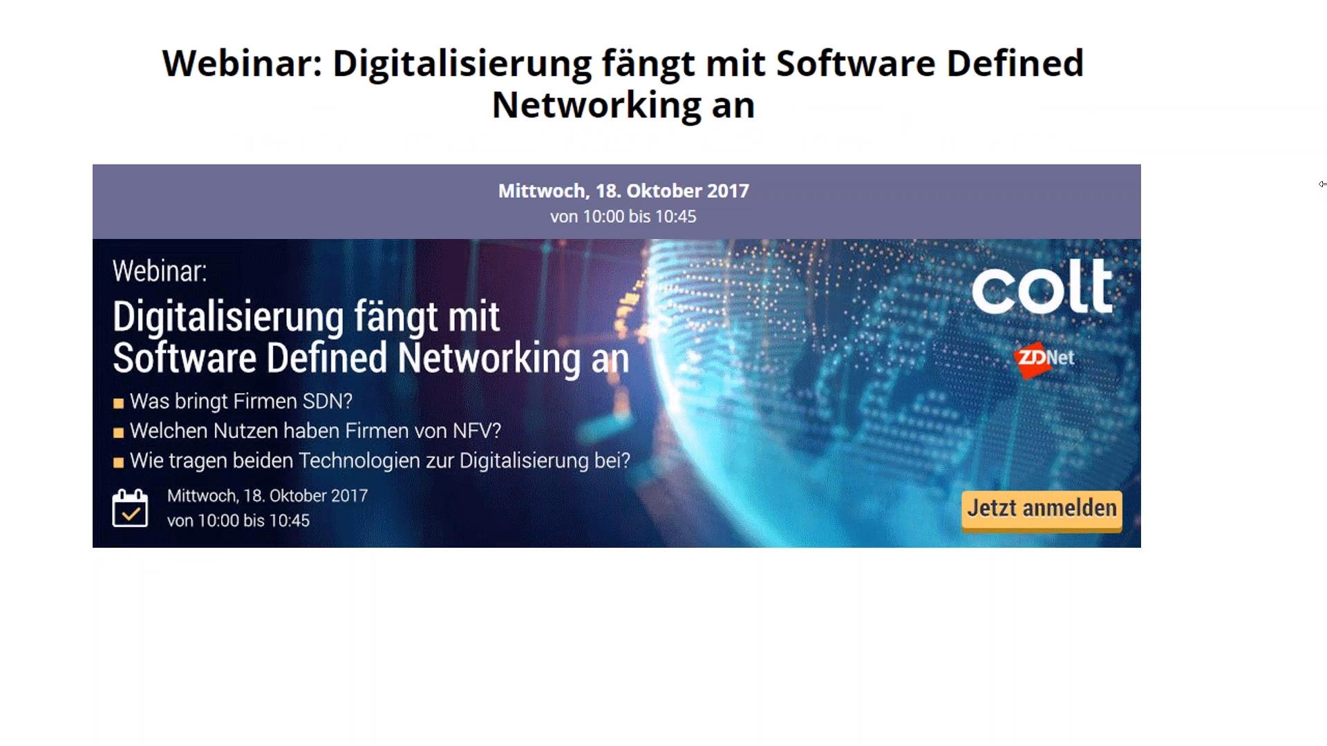 Webinar-Aufzeichnung: Digitalisierung fängt mit Software Defined Networking an