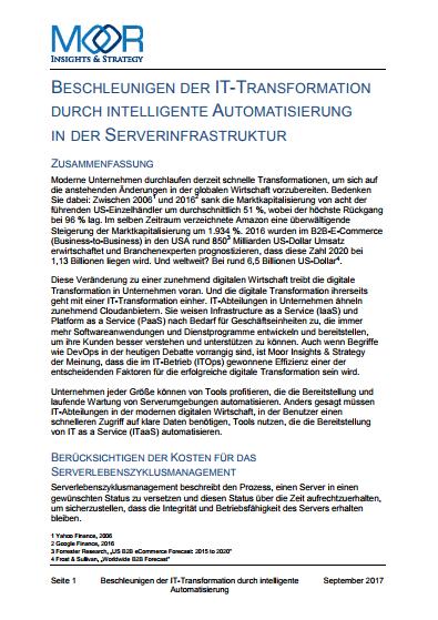 Beschleunigen der IT-Transformation durch intelligente Automatisierung in der Serverinfrastruktur
