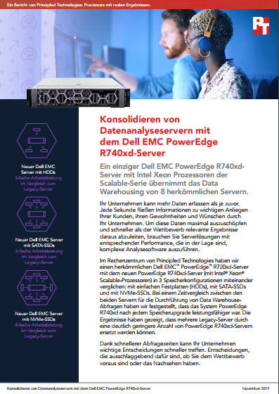 Konsolidieren von Datenanalyseservern mit dem Dell EMC PowerEdge R740xd-Server