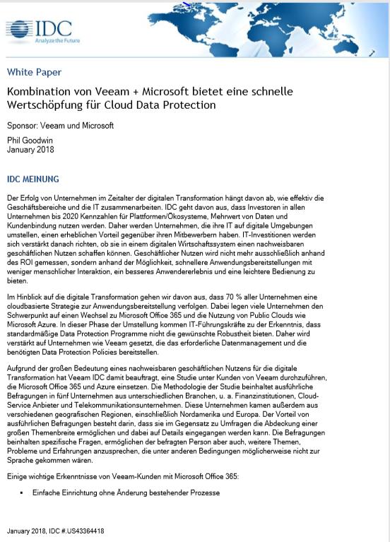 Veeam und Microsoft: Kombination bietet schnelle Wertschöpfung für Cloud Data Protection