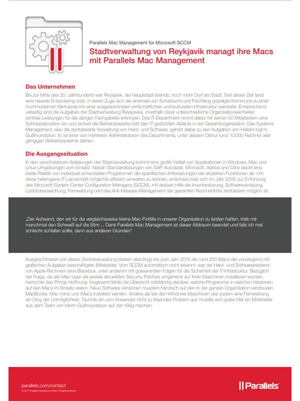 Fallstudie Reykjavik: Parallels Mac Management für Microsoft SCCM