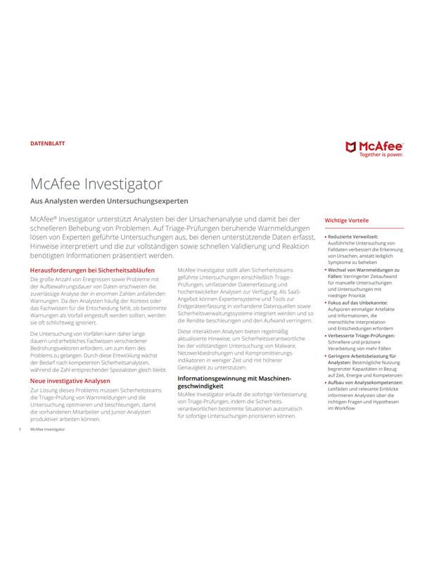 McAfee Investigator – Aus Analysten werden Untersuchungsexperten