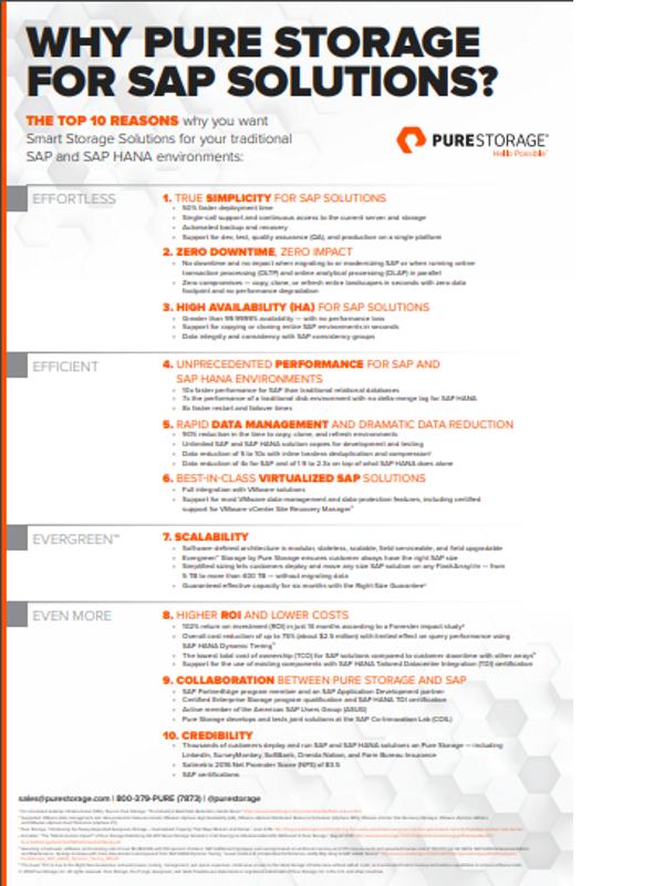 Zehn wichtige Argumente für Pure Storage bei SAP-Lösungen