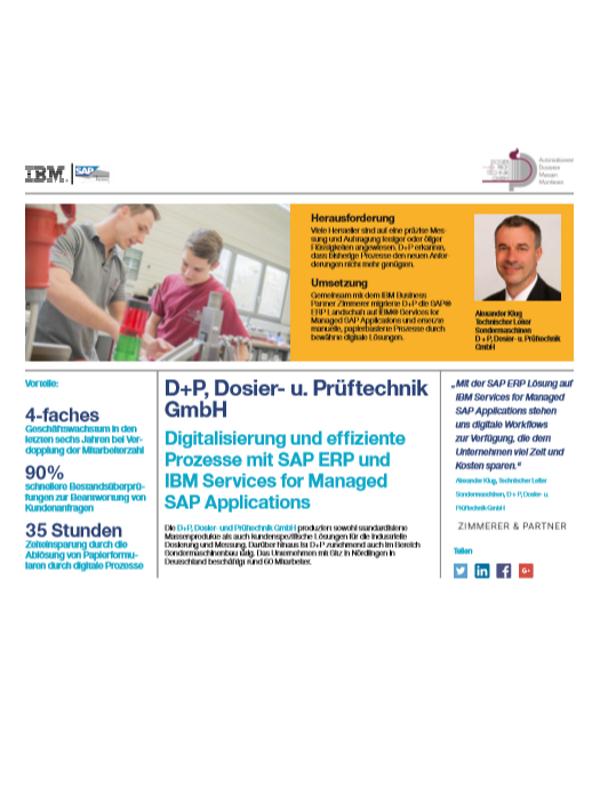 Digitalisierung und effiziente Prozesse mit SAP ERP und IBM Services for Managed SAP Applications