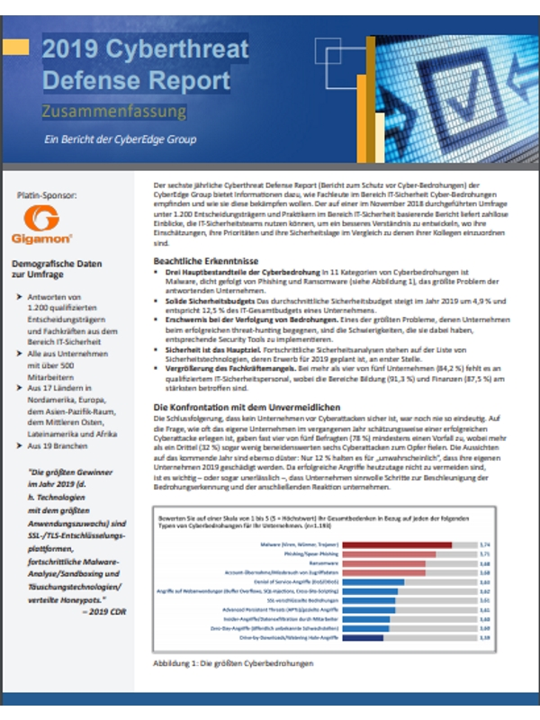 2019 Cyberthreat Defense Report – Zusammenfassung