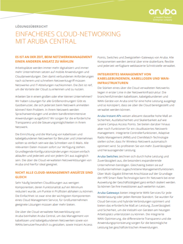 Einfacheres Cloud-Networking mit Aruba Central